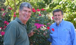 Former Cooperative Extension Agents Tom MacCubbin and Ashton Ritchie enjoy swapping gardening advice