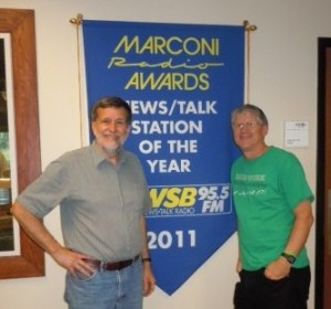 Hanging out with my friend Walter Reeves outside his radio show studio at WSB in Atlanta