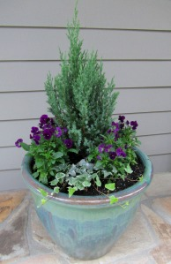 Rita and I potted up two containers this weekend with a small evergreen, surrounded by winter pansies and trailing ivy.