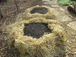 We used straw bale sections to form the edges and then filled the bed with Miracle Gro Moisture Control Potting Soil Mix.  After the seeds germinated we mulched the center with straw.