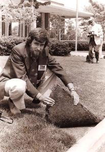 For over 15 years there were several lawns growing on concrete around Scotts headquarters in Marysville, Ohio just to prove that you can have a decent lawn in spite of your soil.  Note:  Before you make fun of my hair or tie, show me a picture of you in the 70's.