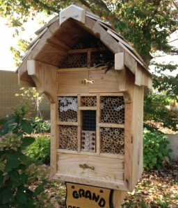 A bee hotel in Michigan State Extension's Grand Ideas Garden. Photo by Rebecca Finneran, MSU Extension.